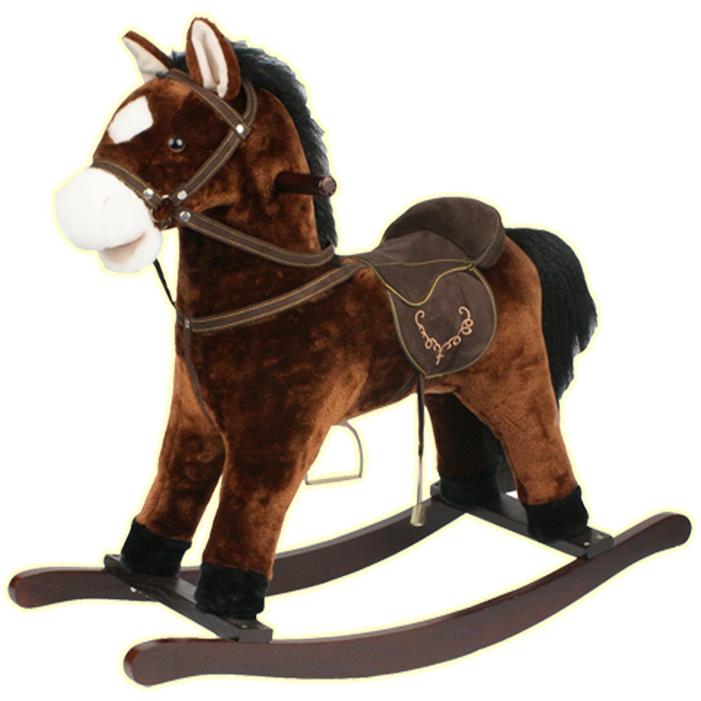 Kids Plush Rocking Horse With Sound & Wood Frame Brown