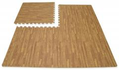 10mm wood Effect Interlocking Cushion Soft Foam Floor EVA Mats Gym Yoga Exercise