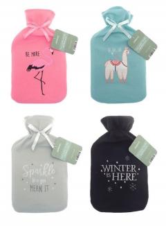 2 Litre Hot Water Bottle Applique Fleece Embroidered Cover 4 Various Designs