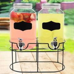 2 X 4 Liter Double Glass Dispenser Drinks Beverage Cocktail Punch Juice Dispense