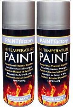 2 x 400ml Silver High Temperature Spray Paint Aerosol