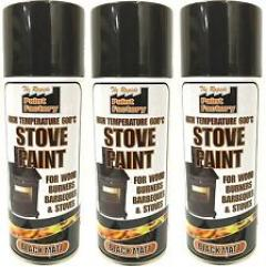 3 x 400ml Mat Black High Temperature Spray Paint Aerosol