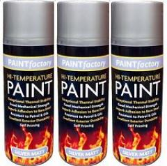3 x 400ml Silver High Temperature Spray Paint Aerosol