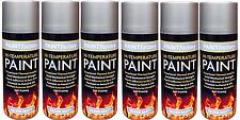6 x 400ml Silver High Temperature Spray Paint Aerosol