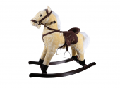 Kids Plush Rocking Horse With Sound & Wood Frame Beige
