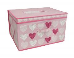Blush Hearts Jumbo Storage Chest Box Room Tidy with Lid Multi Storage Boxes Toy