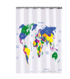 World Map Educational Shower Curtain
