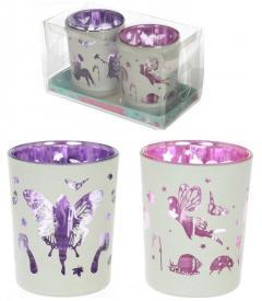 Set Of Fairy Glass Votive Holders Tea Light Candle Holder