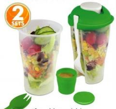 Fresh Salad To Go Serving Cup Salad Shaker With Dressing Container Fork