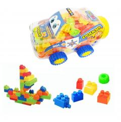 Kids 100 Pcs Small Plastic Building Blocks in Transparent Car-shape Bottle Build