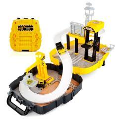 Kids Construction Parking Garage Backpack Toy Car Truck Park Vehicle Play Set