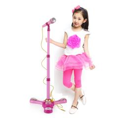 Kids Karaoke Microphone Adjustable Stand Girls Music Gift Lights Connect Phone