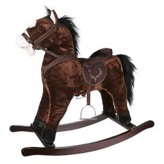 Kids Plush Rocking Horse With Sound & Wood Frame Brown
