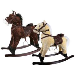 Kids Plush Rocking Horse With Sound & Wood Frame Saddle Ride Realistic  Wooden R