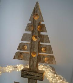 Rustic Wooden Light Up Christmas Tree Window Stars & Snowflakes Xmas Decoration