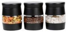 Set Of Tea Coffee Sugar Canister Jars Black