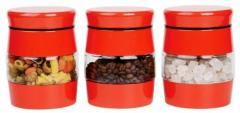 Set Of Tea Coffee Sugar Canister Jars Red