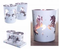 Set Of Unicorn Glass Votive Holders Tea Light Candle Holder
