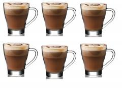 Set of 6 Premium Quality Tea/ Coffee Cup Glasses Mug Hot Chocolate Cappuccino Te