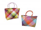 Stylish Multicoloured Plastic Shopper With Handle 40 x 31 cm (2 Assorted Colour)