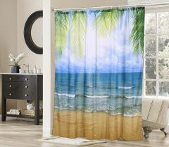 shower curtain Beach View Robust Durable Plastic 180 x 180cm
